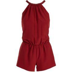 Joie Nasiba Silk Halter Jumpsuit ($370) ❤ liked on Polyvore featuring jumpsuits, playsuit, red jumpsuit, red romper, sleeveless romper, playsuit romper and red romper jumpsuit