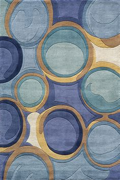 Beautiful contemporary rug with all shades of blue. Blue circles on this rug look like bubbles! Ideal for a modern room design.