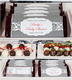 Baby Love Themed Baby Shower. Personalized chocolate bar wrappers. Classic black and white design.