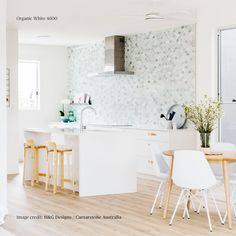 Breeze Block House Kitchen by H&G Designs. Mermaid Tile kitchen Green Tumbles Marble Splashback feature , timber flooring and no overhead cupboards. Rawson Homes, Mermaid Tile, Feature Tiles, Kitchen Trends, Cool Kitchens, White Kitchens, Modern Kitchen Design, Kitchen Tiles, Kitchen Interior