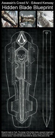 Assassin's Creed 4: Black Flag. Edward Kenway's Hidden Blade Blueprint