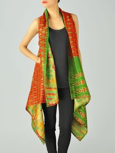 Buy Orange Green Upcycled Silk Saree Kantha Shrug (Free Size) Online at Jaypore.com