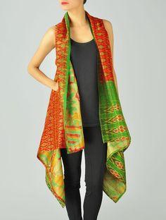 Buy Orange Green Upcycled Silk Saree Kantha Shrug (Free Size) Online at Jaypore.com