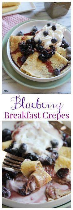 Blueberry Crepes - a no-fail recipe for breakfast, lunxch, or brinner… Breakfast Crepes, Breakfast Items, Best Breakfast, Overnight Breakfast, Mexican Breakfast, Breakfast Sandwiches, Breakfast Healthy, Healthy Breakfasts, Breakfast Dishes