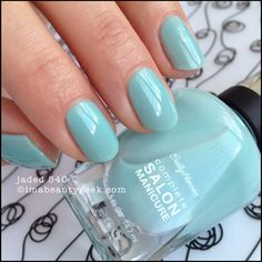 Not too mint, not too turquoise Sally Hansen Jaded 540 Complete Salon Manicure - lotsa swatches of #CSM at imabeautygeek.com
