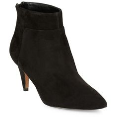 Nine West Women's Jinxie Suede Ankle Boots ($103) ❤ liked on Polyvore featuring shoes, boots, ankle booties, black, suede ankle boots, black suede boots, nine west booties, black suede bootie and ankle boots