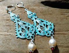 Turquoise Bohemian Earrings  Turquoise Dangle Earrings by KoloNaia