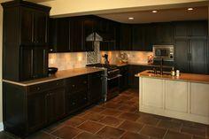 great interior kitchen with cherry cabinet