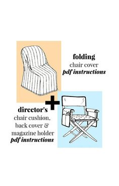 Vintage Folding Chair Cover and Director's Chair Cushion Director's Chair, Chair And Ottoman, Chair Cushions, Pdf Patterns, Vintage Patterns, Sewing Ideas, Sewing Projects, Folding Chair Covers, Patterned Chair