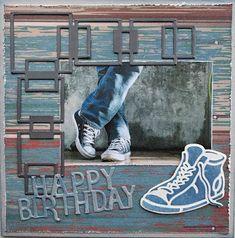 Karla-Krea:+Herenkaart Picture Layouts, Samar, Birthday Cards, Card Making, Van, Boys, Sneaker, Pictures, Birthday