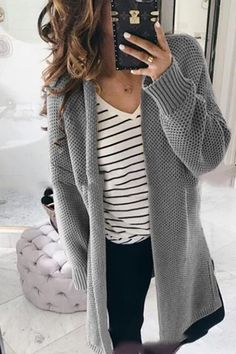 LoverMalls New Khaki Patchwork V-neck Long Sleeve Casual Cardigan Sweater Outfits With Grey Cardigan, Cardigan Fashion, Grey Sweater Outfit, Baggy Sweater Outfits, Cardigan Styles, Yellow Sweater, Mode Outfits, Fall Outfits, Casual Outfits