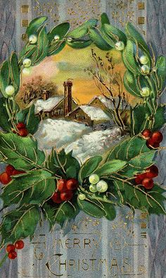 Antique Christmas postcard with country snow scene framed in a wreath.