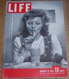 Life Magazine January 18, 1943 Rita Hayworth, Cover Girl on cover