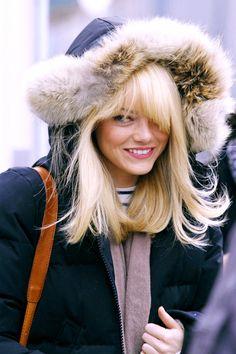 Emma Stone... furry hood, scarf, mariniere
