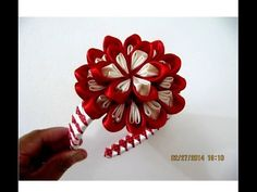 Flores bom bom diademas moñitos dos colores en cintas para el cabello - YouTube