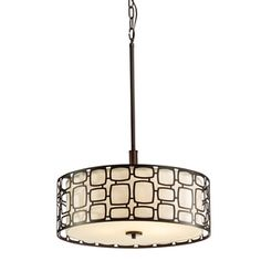 Kichler Sabine 17.99-In Olde Bronze Art Deco Single Etched Glass Drum Pendant 34762