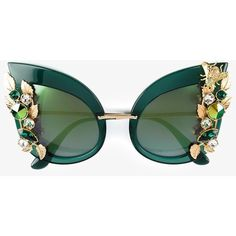 Dolce & Gabbana Eyewear Embellished Sunglasses (3 170 BGN) ❤ liked on Polyvore featuring accessories, eyewear, sunglasses, green cat eye glasses, cat-eye glasses, cateye sunglasses, bumble bee glasses and honey bee glasses