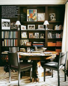 Traditional Office/Library by François Catroux in Paris, France, For the office of her Paris apartment, Diane von Furstenberg designed the zebra pattern rug. Table Orange, Teen Game Rooms, Round Desk, Traditional Office, Game Room Decor, Room Setup, Design Blog, Salon Design, Dining Room Furniture