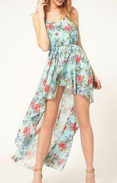 Sweet Floral Printing Chiffon High Low Dress