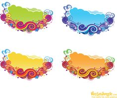 Swirls and pattern Free Vector Art, Vector Graphics, Spring Banner, Reference Images, Blue Yellow, Orange, Green, Girly Things, Swirls