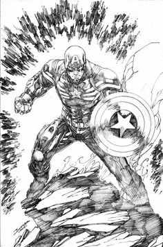 Captain america by brett booth marvel comic капита́н аме́рика, Captain America Drawing, Captain America Art, Comic Book Artists, Comic Artist, Comic Books Art, Brett Booth, Hq Marvel, Marvel Drawings, Avengers