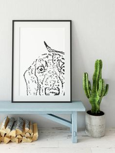 Mounted Dashund print, drawn with a typewriter using only letters and symbols. Dashund, Vintage Typewriters, Dory, New Homes, Frame, Handmade Gifts, Stuff To Buy, House Ideas, Home Decor
