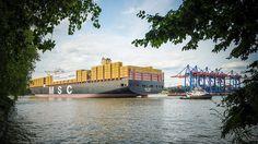 MSC ZOE – Erstanlauf in Hamburg  Der Containerriese MSC Zoe bei seinem erstanlauf in Hamburg am 01.08.2015. Einen Tag später wurde dann am Eurogate Terminal die Taufe vollzogen. Mit seinen 19.224 Containern ist es eines der derzeit größten Schiffe auf den Weltmeeren.
