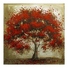 Hand Painted Decorative Tree Red Flower Oil Painting Abstract Modern Canvas Wall Art Living Room Decor Picture