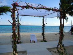 CBG146 Weddings Riviera Maya  Arch with tree branches and orchids/ Bodas Riviera Maya con orquideas