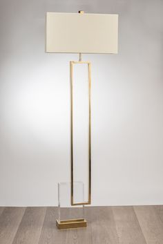 FLOOR LAMP MANUFACTURED, IN BRASS VINTAGE EFFECT AND PLEXIGLAS SHADE CM.55X18X30H., IVORY SHANTUNG