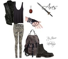 This casual outfit was inspired by Cabin #5: Ares. Anyone that is a fan of greek mythology or the Percy Jackson series would enjoy this look.