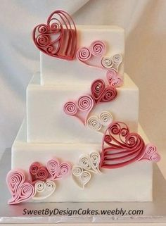 Quilled Hearts - 6 8 and square cake covered in fondant with white pink and dark pink quilled hearts for Valentine's Day. Heart Wedding Cakes, Square Wedding Cakes, Square Cakes, Cake Wedding, Gold Wedding, Valentines Day Cakes, Valentines Day Weddings, Pretty Cakes, Beautiful Cakes