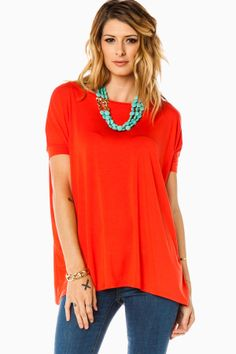 ShopSosie Style : Cozy Short Sleeve Tee in Perian Red by Piko
