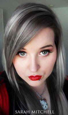 Image result for grey hair dark streaks images