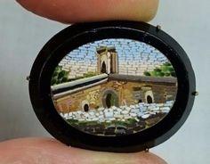 Italian-Ponte-Bridge-Micro-Mosaic-Brooch-Pin-in-Black-Onyx-Gold-Setting