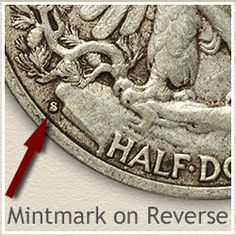 Walking Liberty Half Dollar Mintmark Location on Reverse Silver Coins For Sale, Old Coins Worth Money, Rare Pennies, Antiques Value, Valuable Coins, Masonic Symbols, American Coins, Error Coins, Coin Worth