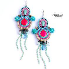 Colorful soutache earrings. Handmade earrings. Bold color
