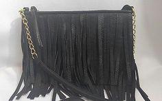 Cross Body Purse Handbag Shoulder Bag Black Fringe Gold Tone Chain 1970's Style