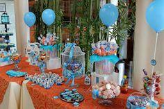 mesa de dulces bautizo - candy bar - dessert table - blue