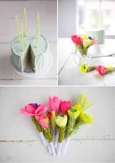 Make Flower Party Blowers as a fun and easy DIY project for a birthday party. #spring