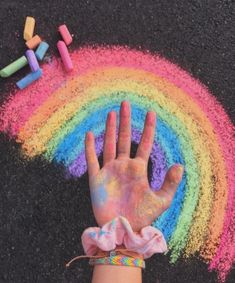 , Chalk is this type of fun method to be creative! It's a beautiful texture, many colors, and may b, Rainbow Aesthetic, Summer Aesthetic, Polaroid Foto, Vsco Pictures, Vsco Pics, Sidewalk Chalk Art, Chalk It Up, Chalk Drawings, Happy Vibes