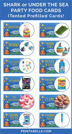 Baby Shark Under the Sea Printable Party Food Cards - Trend Girls Party 2019 Baby Boy 1st Birthday Party, 2nd Birthday Party Themes, 5th Birthday, Underwater Birthday, Underwater Party, Shark Party Foods, Sea Party Food, Baby Shark, Sea Shark