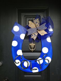 Indianapolis Colts horseshoe door by shutthefrontdoor2 on Etsy