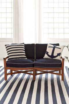 """Fresh American Admiral Navy/ivory Indoor/Outdoor Pillow  Say, """"Ahoy, matey!"""" to our fresh new nautical design in three color combos and durable, easy-clean polyproylene."""