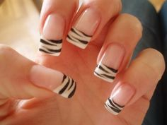 Decoration for your nails - Manicure zebra Nail Art French, French Nail Designs, Simple Nail Art Designs, French Tip Nails, Nails Only, Love Nails, Pretty Nails, Tiger Nails, Zebra Nails