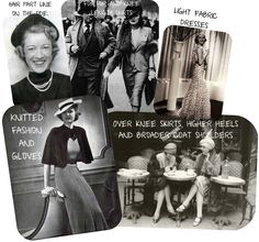 "1930's Believe it or not, but the Great Depression had an impact on 1930's fashion. Women skirts became longer than in 1920's and their waistline was returned up to its normal position. Top tip for 1930's fashion was broad shoulder look for coats and jackets, which was brought in by Elsa Schiaparelli (1890–1973), an Italian fashion designer.The ""must have"" accessory of the time was gloves. Short hairstyle remained at the peak of fashion throughout the decade."