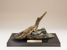 Gharial crocodile trophy for 'BBC Young Wildlife Photographer of the Year' 2013. www.nickmackmansculpture.co.uk