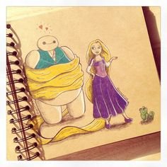 Some adorable art from DeeeSkye on Deviant Art of Baymax with some of the Disney princesses. Rapunzel. [For more Disney tips, secrets, pics, etc., please visit my blog: http://grown-up-disney-kid.tumblr.com/ ]