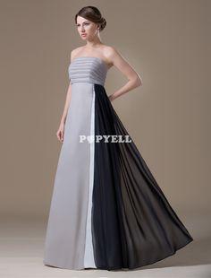 #robe #demoisellehonneur Argent A-ligne bretelles en mousseline de soie longueur de plancher de demoiselle d'honneur robe de maternité