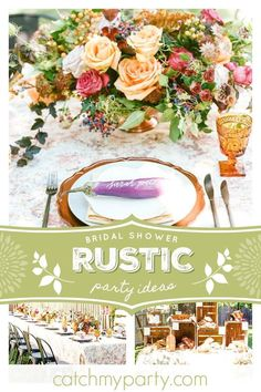 Don't miss this wonderful rustic bridal shower! The table settings are amazing! See more party ideas and share yours at CatchMyParty.com  #catchmyparty #partyideas #farmersmarket #bridalshower #rusticparty